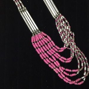 Metal and pink beaded necklace from Kenya